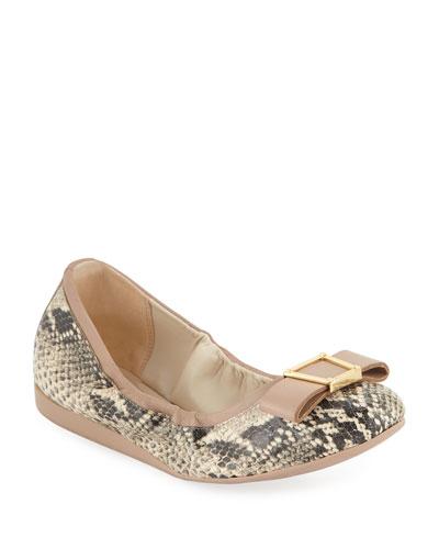 Emory Snake-Print Bow Ballet Flats