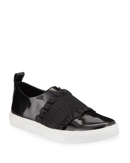 Donald J Pliner Sal Ruched Patent Slip-On Sneakers
