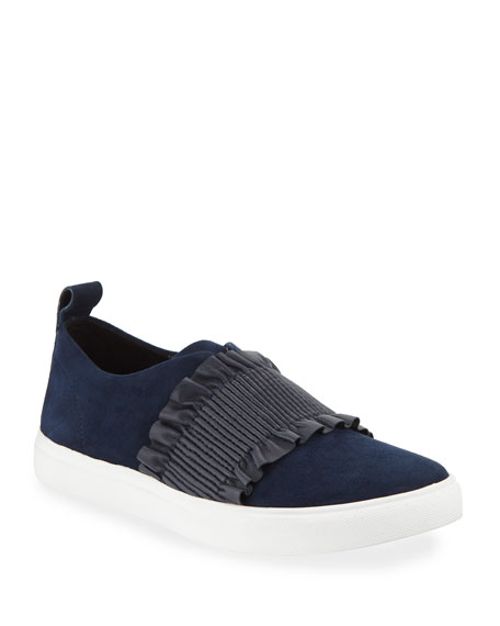 Donald J Pliner SAL RUCHED SUEDE SLIP-ON SNEAKERS