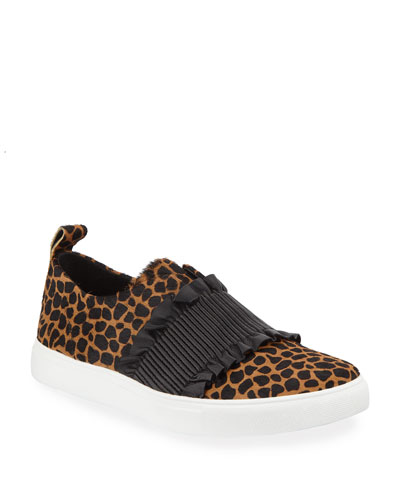 Sal Ruched Cheetah-Print Slip-On Sneakers