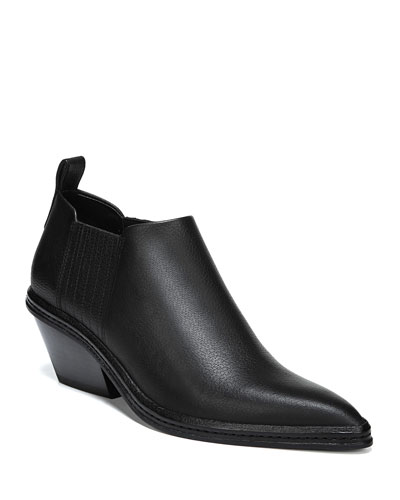 Farly Pleated Leather Block-Heel Booties