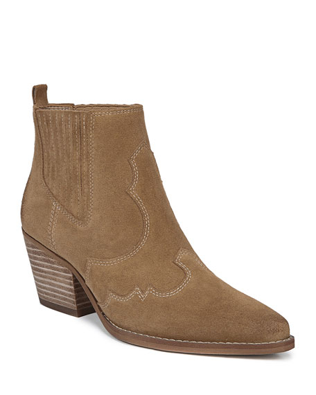 Sam Edelman Boots Winona Western Stitched Suede Booties