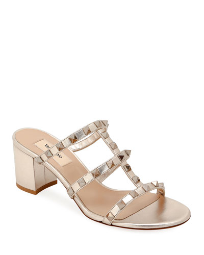 Rockstud Caged Metallic Leather Slide Sandals