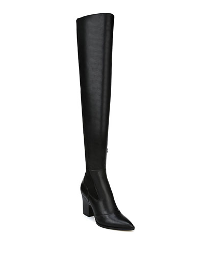 Natasha Stretch Leather Over-The-Knee Boots
