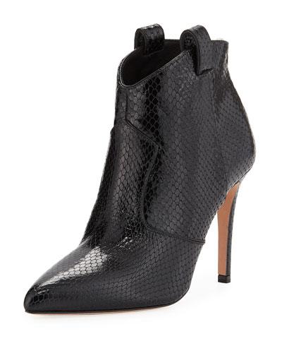 Loretta Embossed Leather Western Booties