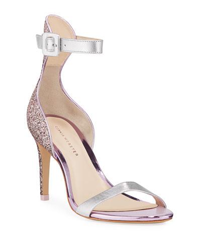 Nicole Naked Mid-Heel Glitter Ankle-Wrap Sandals