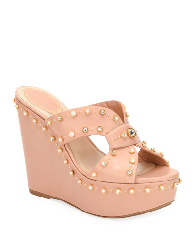 Studded Platform Wedge Slide Sandals