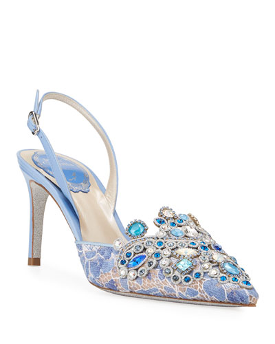 Crystal-Beaded Lace/Leather Halter Pumps