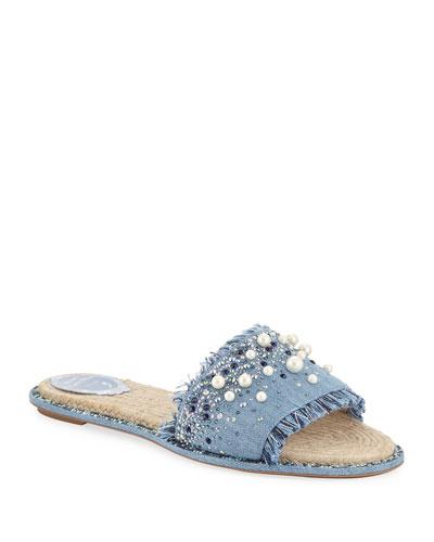 Fringed Denim Slide Sandals