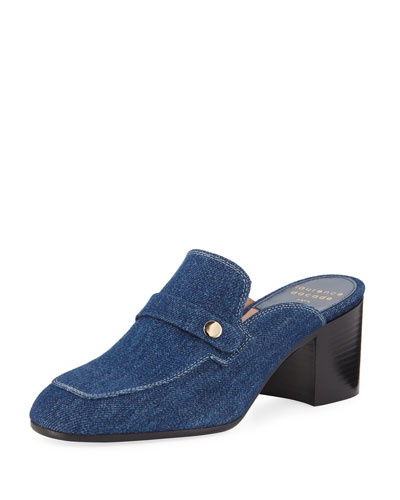 Thelma Denim Penny Loafer Mules