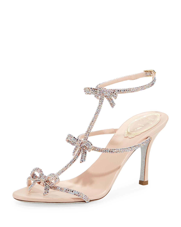 db746ce02c51d Rene Caovilla Mid-Heel T-Strap Sandal with Bows