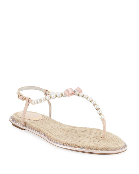René Caovilla PEARLY FLAT THONG SANDALS