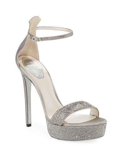 Crystal-Embellished Snakeskin Platform Sandals