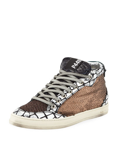 Love Platform Mixed Media Sneakers
