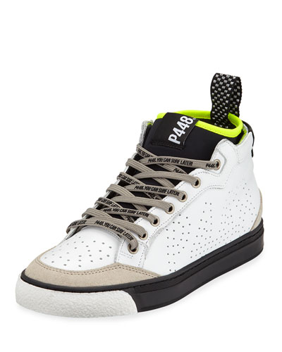 Perforated Platform High-Top Sneakers