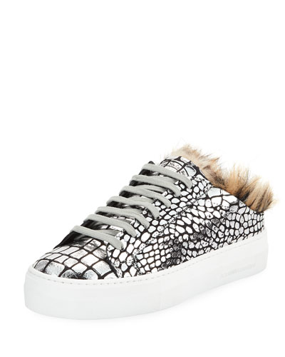 Clara Metallic Croco Slide Sneakers with Faux Fur