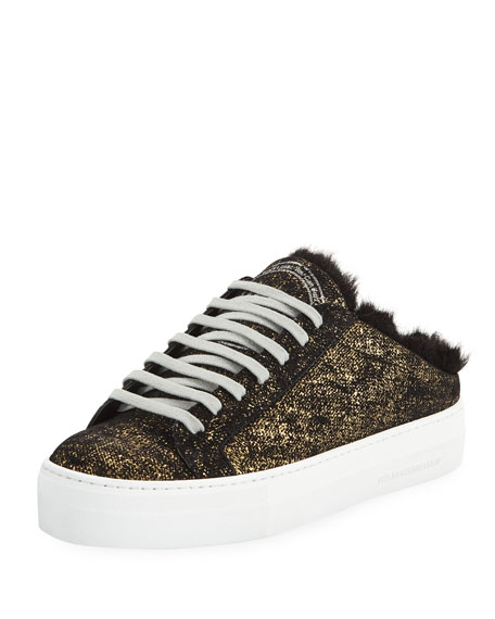 P448 Clara Metallic Slide Sneakers with Faux Fur