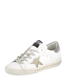 Golden Goose Superstar Leather Low Top Sneakers With Crystal Base by Golden Goose