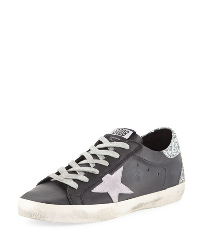 Superstar Leather & Glitter Low-Top Sneakers