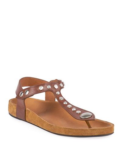 Encore Flat Studded T-Strap Sandals