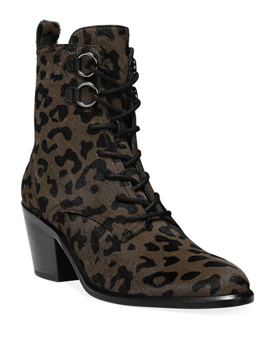 Dakota Leopard Lace-Up Boots