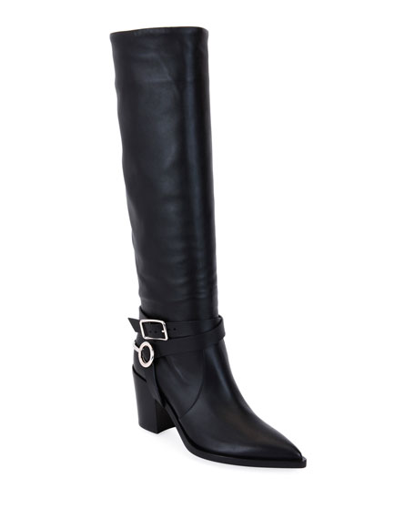Harness-Strap Leather Knee Boots - Black Size 7