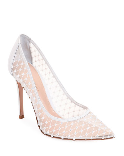 Crystal Mesh Pointed Pumps
