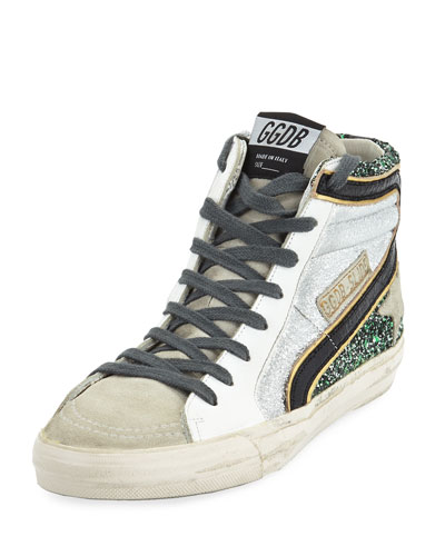 Slide High-Top Glitter & Leather Sneakers
