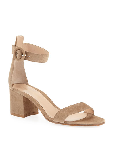 Suede Ankle-Strap Chunky-Heel Sandals