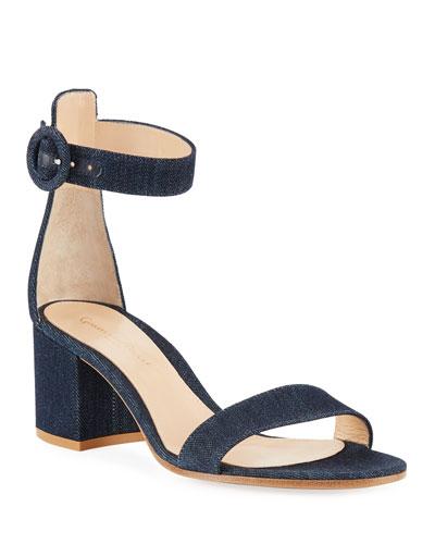 Denim Block-Heel Ankle-Strap Sandals