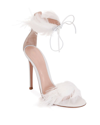 Leather High Sandals with Feather Detail
