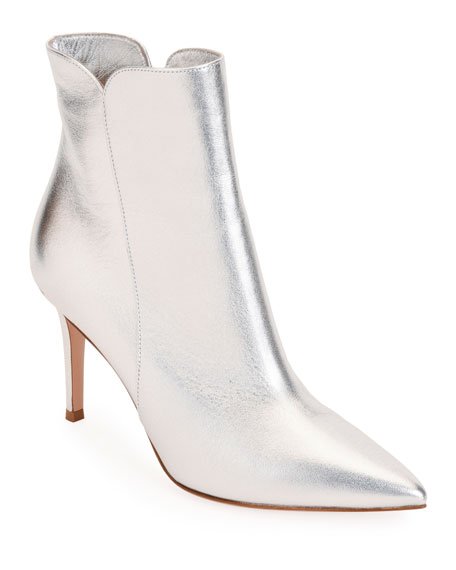 Levy 85 Metallic Leather Ankle Boots in Silver