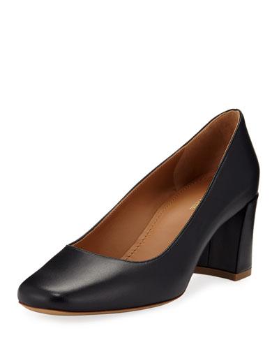 Leather Square-Toe Block-Heel Pumps