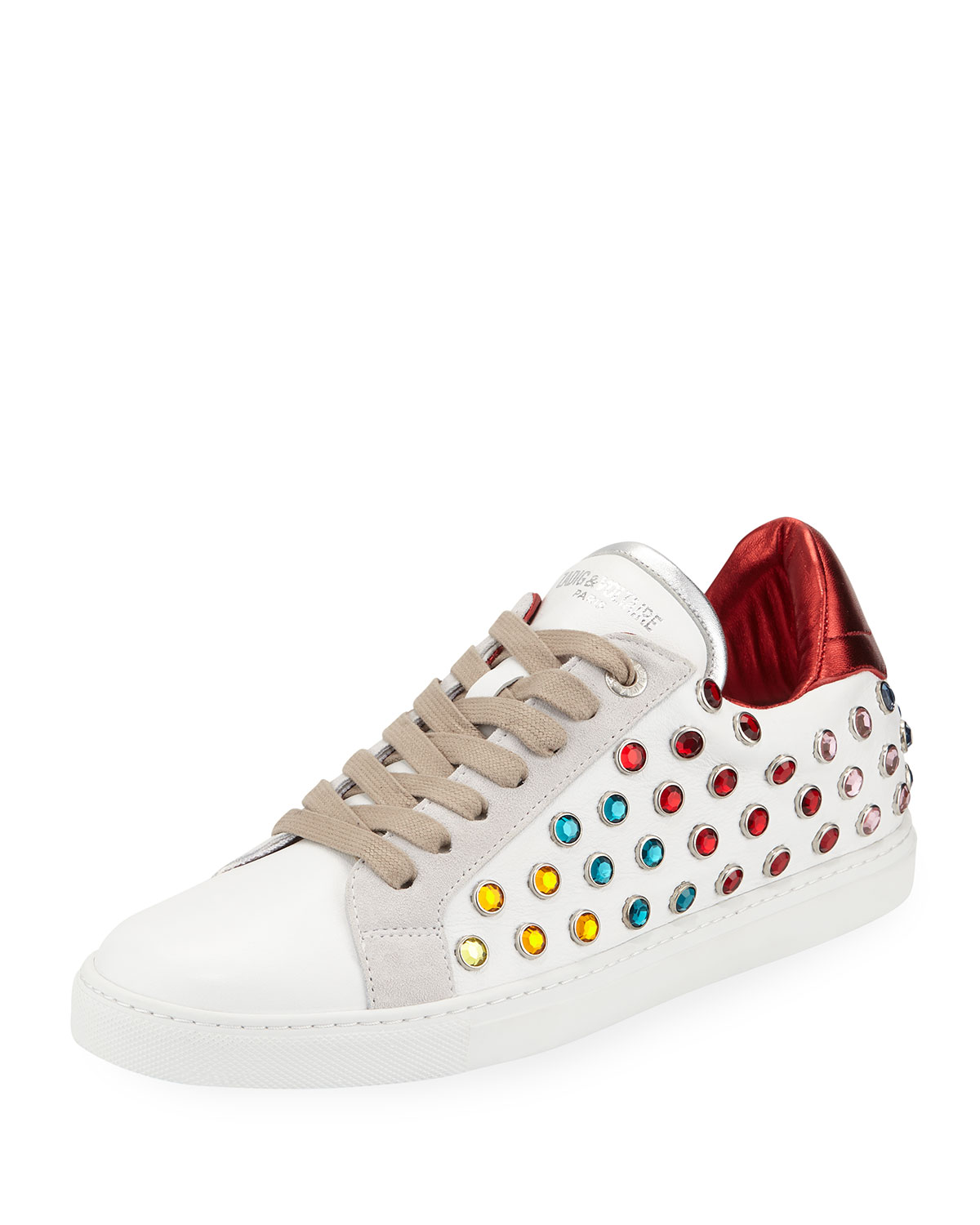 Zadig & Voltaire Leather and Strass Hidden-Wedge Low-Top Sneakers