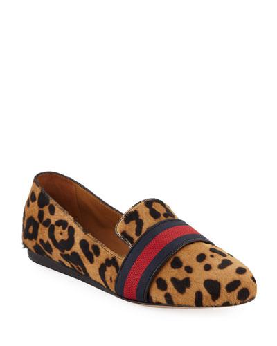 Griffin Flat Leoard-Print Fur Loafers