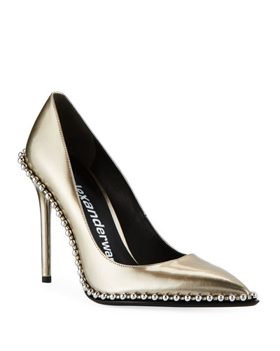 Rie Studded Liquid Patent Leather Pumps