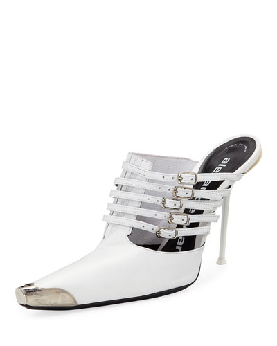 Minna Strappy High-Heel Metal-Toe Goatskin Mules