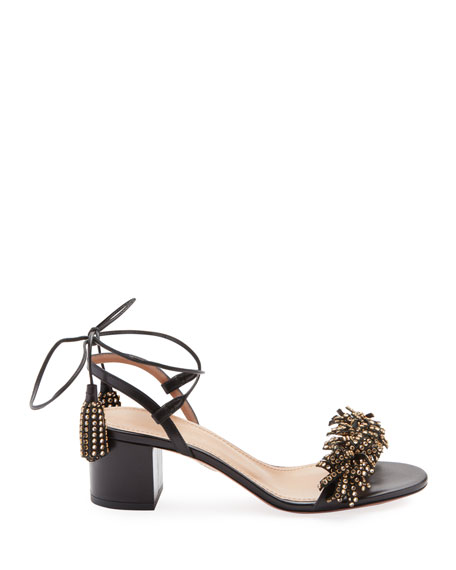Embellished In Leather Aquazzura Black 50 Modesens Wild Sandals RqHFOEx
