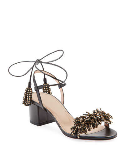 Wild Crystal Fringed Block Sandals