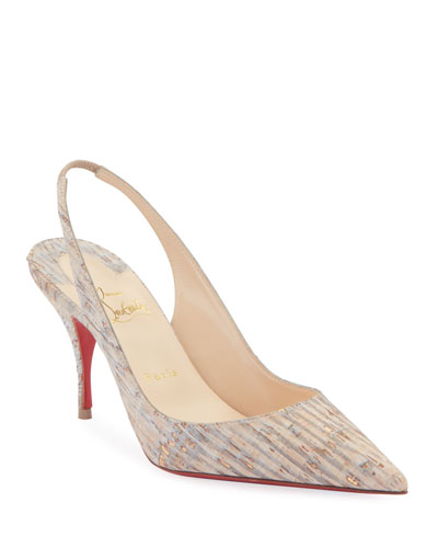 Clare Cork Red Sole Slingback Pumps