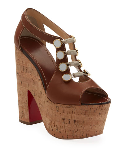 Christian Louboutin Ordonanette 160 Leather Platform Red Sole Sandals