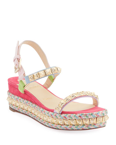 Pyradiams 60mm Suede Red Sole Espadrille Sandals