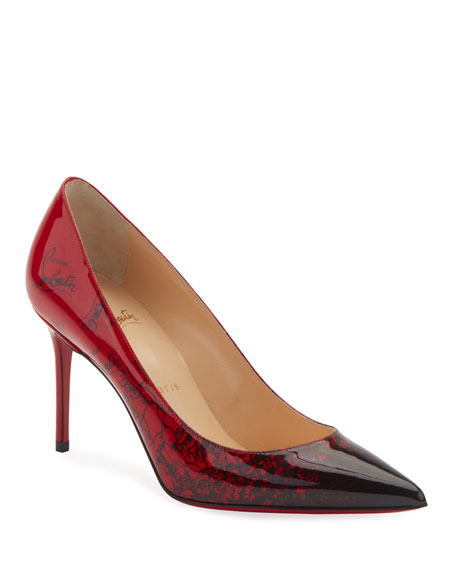 cb238db7a510 CHRISTIAN LOUBOUTIN. Decollete 554 Mid-Heel Patent Degraloubi Red Sole  Pumps in Black