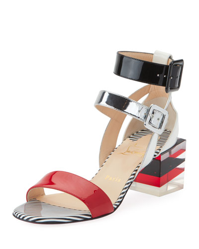 8a49504df87 inexpensive christian louboutin rocknbuckle leather wedge sandals heels  505609760 15c3c 77b63  clearance christian louboutin cinetikadoll 55 red  sole ...