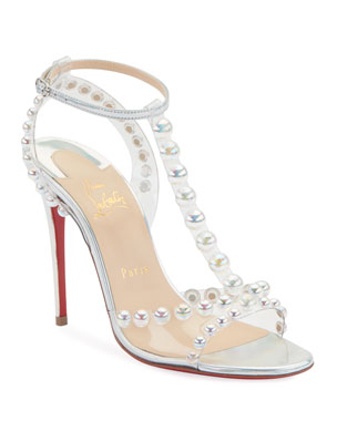 09f696578c10ff Christian Louboutin Faridavavie See-Through Vinyl Metallic Red Sole T-Strap  Sandals