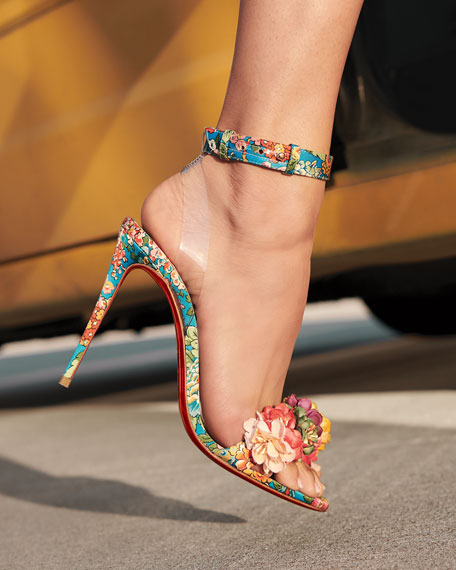 Christian Louboutin Arielta Floral Red Sole Sandals