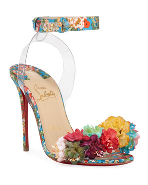 7af1362443c5 Christian Louboutin Jonatina Floral Red Sole Sandals