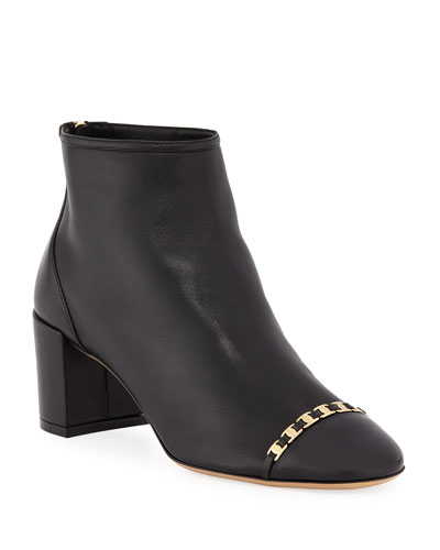 Atri Cap-Toe Booties with Mini Buckles