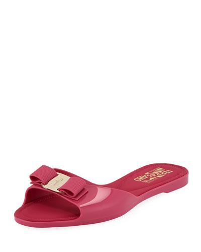 Cirella Flat PVC Jelly Bow Slide Sandals  Hot Pink