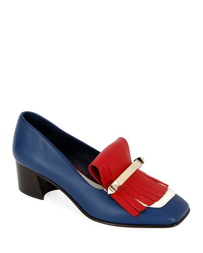 Uptown Colorblock Kitten-Heel Kiltie Loafers